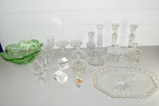 BOX CONTAINING VARIOUS GLASS WARES, PAIR OF CANDLESTICKS, SMALL CUT GLASS BOWLS AND COVERS ETC