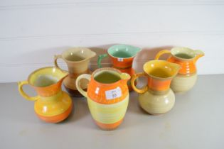 VARIOUS ART DECO STYLE JUGS BY SHELLEY