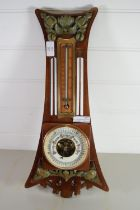 CIRCULAR BAROMETER AND THERMOMETER IN WOODEN FRAME