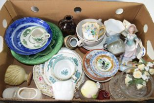TRAY CONTAINING MIXED CERAMICS, SOME BOOTHS ITEMS IN THE SILICONE CHINA