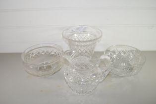 CUT GLASS FLOWER VASE, JUG AND BOWLS ETC