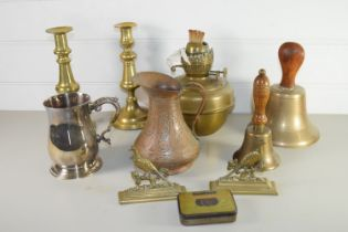 TRAY CONTAINING PAIR OF BRASS CANDLESTICKS, BRASS BELL ETC