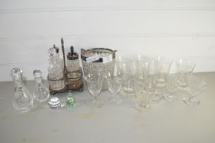 TRAY CONTAINING GLASS WARES WITH PLATED MOUNTS INCLUDING HOBNAIL CUT ICE BUCKET ETC