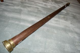 LARGE COPPER TUBE WITH BRASS MOUNTS, POSSIBLY A SHIP'S TELESCOPE