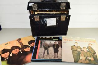 BOX CONTAINING RECORDS, EARLY BEATLES, THE JAM, ROLLING STONES ETC