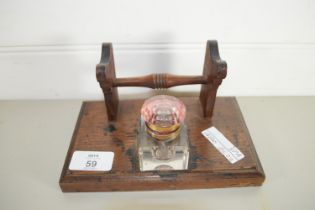 SMALL WOODEN DESK SET WITH GLASS INKWELL