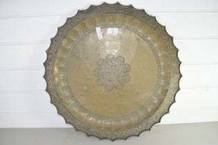 LARGE BRASS TRAY WITH ISLAMIC DESIGN TO CENTRE