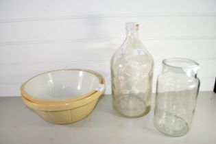 LARGE GLASS BOTTLE WITH GLASS JAR AND POTTERY MIXING BOWLS