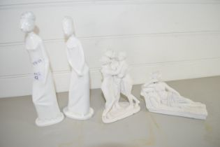 PAIR OF WHITE GLAZED FIGURES, HENRIETTA, BY SPODE, PLUS PRISCILLA PLUS TWO OTHER ITEMS