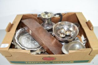 BOX CONTAINING PLATED WARES, PLATED COFFEE POT ETC