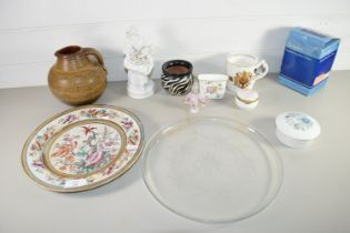 TRAY CONTAINING CERAMICS INCLUDING A DERBY STYLE WHITE GLAZED FIGURE OF A FLOWER SELLER, CROSSED