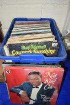 PLASTIC BOX CONTAINING LPS, POP MUSIC AND SOME CLASSICAL, NAT KING COLE, MOZART CONCERT ETC