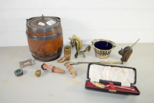 TRAY CONTAINING A WOODEN BISCUIT BARREL WITH METAL MOUNTS AND OTHER ITEMS