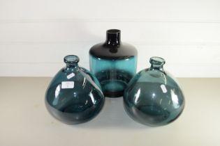 THREE GREEN GLASS BOTTLES