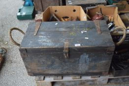 WOODEN TOOLBOX AND CONTENTS TO INCLUDE G-CLAMPS, WRENCHES ETC