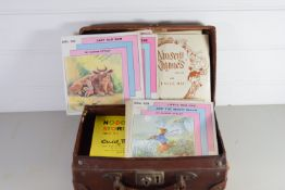 SMALL VINTAGE SUITCASE CONTAINING CHILDREN'S RECORDS