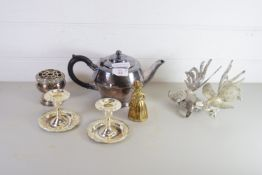 PLATED TEA POT AND PAIR OF SMALL PLATED CANDLESTICKS ETC