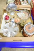 TRAY CONTAINING METAL WARES, BISCUIT BARREL WITH HORSE HEAD FINIAL, METAL LIGHT ETC