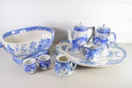 LATE 19TH CENTURY POTTERY BLUE AND WHITE TUREEN TOGETHER WITH A SERVING DISH AND ORIENTAL COFFEE POT