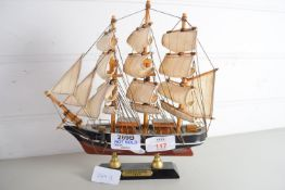 SMALL MODEL OF THE CUTTY SARK ON METAL MOUNT
