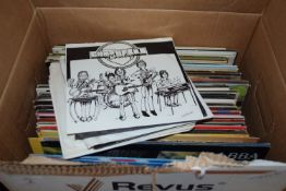BOX CONTAINING LPS, POP MUSIC, THE SHADOWS, ABBA ETC
