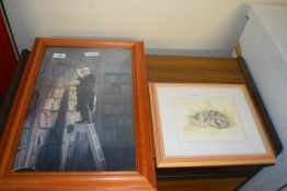 LIMITED EDITION FRAMED PRINT OF A SLEEPING CAT, FRAME APPROX 31 X 27CM TOGETHER WITH A FRAMED