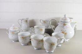 NORITAKE TEA SET COMPRISING TEA POT, MILK JUG, SUGAR BOWL AND SEVEN CUPS, SAUCERS AND SIDE PLATES