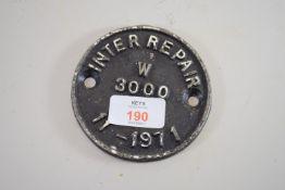 SMALL METAL CIRCULAR PLAQUE INTER REPAIR W3000 DATED 11/1971