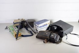 BOX CONTAINING CAMERA EQUIPMENT INCLUDING AN OLYMPUS SUPERZOOM 700XB CAMERA