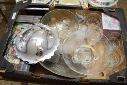 TRAY CONTAINING GLASS WARES AND CDS, MAINLY CLASSICAL MUSIC