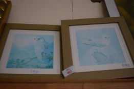 PAIR OF FRAMED PRINTS OF OWLS, EACH APPROX 25CM