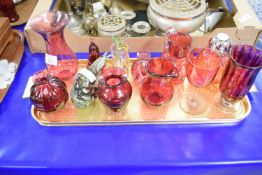 RUBY GLASS ITEMS, VASES, JUGS ETC