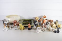 LARGE BOX CONTAINING CERAMIC ANIMALS, MAINLY DOGS, PLUS A POTTERY TRAY ETC