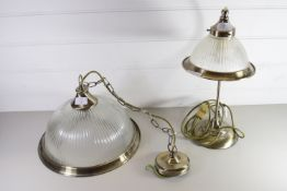 METAL WALL LIGHT WITH GLASS SHADE AND A METAL LAMP WITH GLASS SHADE (2)