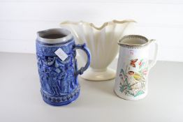 LATE 19TH CENTURY POTTERY JUG, BLUE POTTERY CONTINENTAL STYLE EWER AND FLOWER VASE