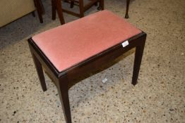 SMALL UPHOLSTERED MAHOGANY EFFECT STOOL, APPROX 53 X 34CM
