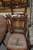 THREE VARIOUS CANE SEATED CHAIRS