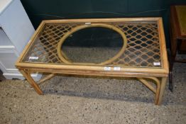 GLASS TOPPED CANE CONSERVATORY TABLE