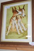 FRAMED LOUIS WAIN PRINT OF DOGS, APPROX 29 X 35CM