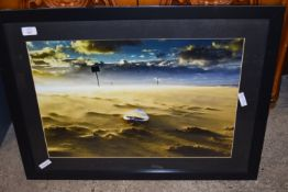 FRAMED PRINT DEPICTING A COASTAL SCENE WITH BOATS, APPROX 76 X 56CM
