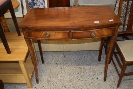 REPRODUCTION SERPENTINE TWO DRAWER SIDE TABLE WITH CROSS BANDED DECORATION, WIDTH APPROX 85CM