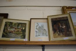 """THREE VARIOUS FRAMED PICTURES COMPRISING OIL ON BOARD SIGNED JOHN MUNNINGS """"EAST HARLING MILL"""", 20 X"""