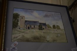 FRAMED WATERCOLOUR, SIGNED FRANCES HARVEY LOWER LEFT, LOUND CHURCH, SUFFOLK, WIDTH APPROX 48CM