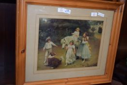FRAMED COLOURED PHOTOGRAPHIC PRINT DEPICTING CHILDREN AT PLAY WITH A PONY, WIDTH APPROX 64CM