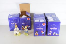 SIX ROYAL DOULTON MICKEY MOUSE COLLECTION FROM THE BUNNIKINS SERIES INCLUDING MASTER POTTER, HAPPY