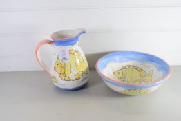 POTTERY JUG AND BOWL WITH FISH DESIGN