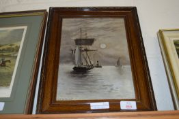 FRAMED OIL PAINTING ON PANEL, SIGNED G S WALTERS, MOONLIT BOAT UNDER SAIL, APPROX 28 X 20CM