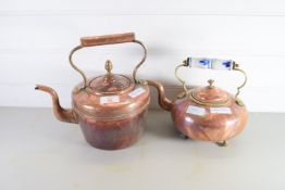 TWO COPPER KETTLES, ONE WITH CERAMIC HANDLE