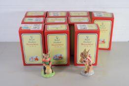 TEN BUNNIKINS IN ORIGINAL BOXES INCLUDING SANTA, BRIDESMAID, NEW BABY, ETC