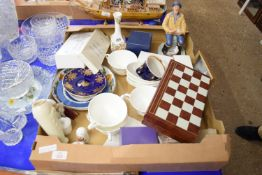 BOX CONTAINING CERAMICS AND OTHER ITEMS INCLUDING ROYAL DOULTON MODEL OF THE SEAFARER